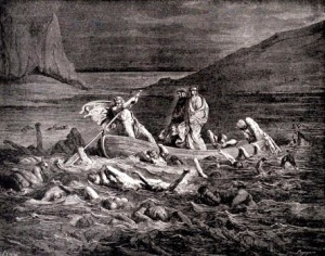 Phlegya ferries Dante and Virgil across the River Styx