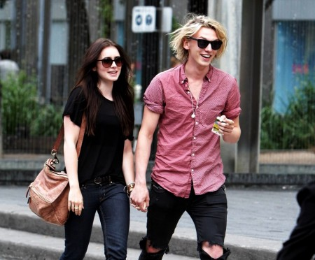 Lily Collins - Jamie Campbell Bower. Photo by Justjared.com