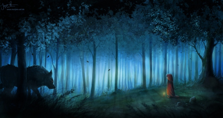 Little Red Riding Hood meets the Big Bad Wolf in the Dark Forest. Photo credit: Pinterest