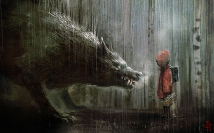 Little Red Riding Hood meets the Big Bad Wolf in the Dark Forest. Photo credit: Emaze