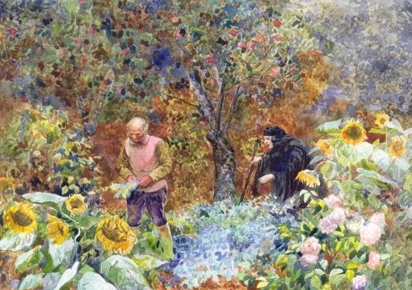 Ayah Rapunzel ketahuan mencuri dari kebun Dame Gothel. Photo credit: Kozhinart.com