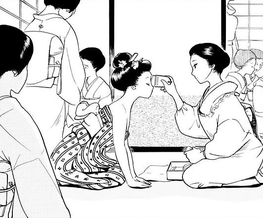 Suu-chan memakai riasan ala geisha untuk pertama kalinya. Photo credit: Sogakukan/Shounen Sunday//a/nonymous