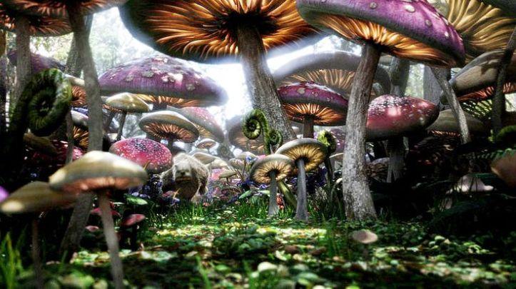 Jamur raksasa di film Alice In Wonderland. Photo credit: Disney