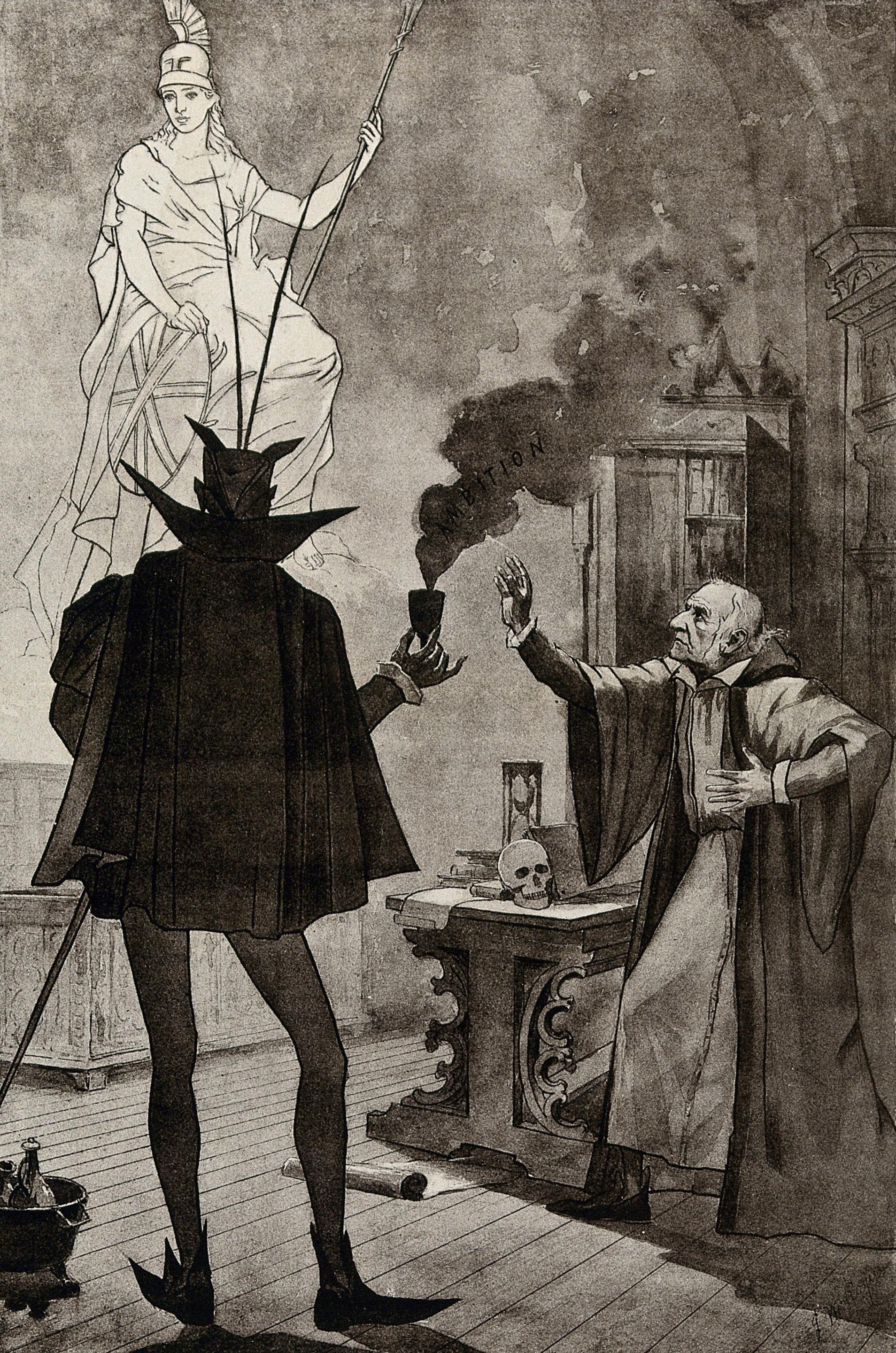 Ilustrasi satir bernuansa politik menggambarkan William Gladstone sebagai Dr. Faust yang melakukan perjanjian dengan iblis. ©1885 Wellcome Library London